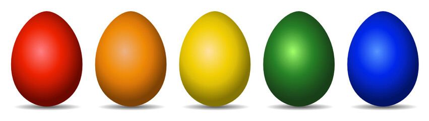 Colourful Easter Eggs red orange yellow green blue