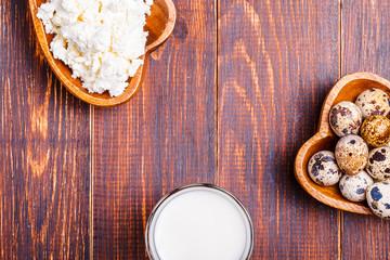 Quail eggs, cottage cheese, milk