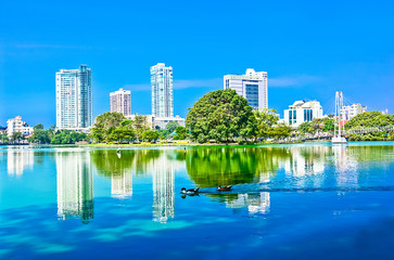 Colombo Beira Lake And Skyline, Sri Lanka
