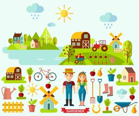 Flat icons and panoramic rural landscape with gardening concept