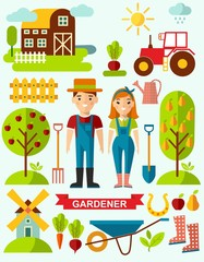 Flat stylish icons for gardening concept