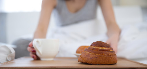 Closeup image of a breakfast in the bed