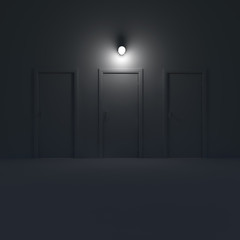 Three doors in a dark room with lamp. 3d illustration.