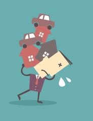 Debt. Cartoon Illustration Business man business vector file eps
