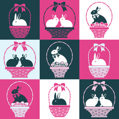 Set of black and white bunnies in the baskets