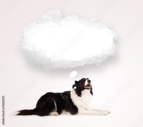 canvas print picture Cute dog with empty cloud bubble