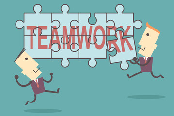 Business men putting together jigsaw the word teamwork vector fi