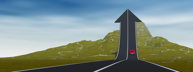 Conceptual arrow road over mountain