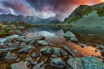 Sunset on a mountain lake, with wild colors