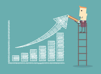 businessman on a ladder charting a positive trend graph