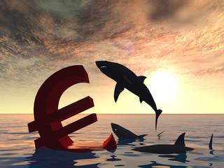 Conceptual business crisis with euro symbol