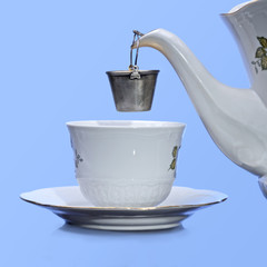 Tea cup,strainer and pot