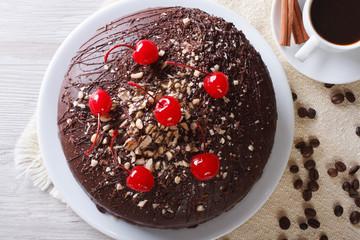 chocolate cake and coffee horizontal top view closeup