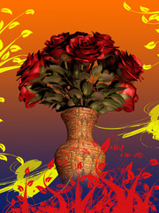 Bouquet of Red Roses in Vase on colorful background