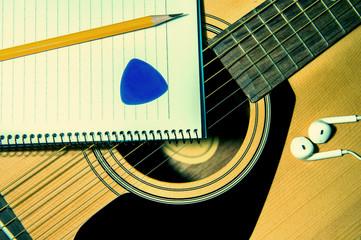 Guitar with pancil.