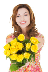 Happy woman giving bunch of roses