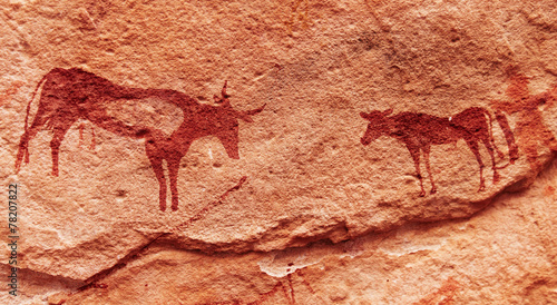 Deurstickers Algerije Rock paintings in Sahara Desert, Algeria
