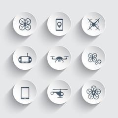 Drones trendy round icons vector illustration, eps10