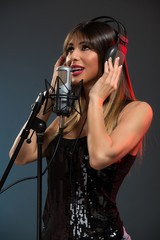 Woman Singer Recording A New Song