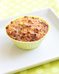 muffin in green silicon baking mould