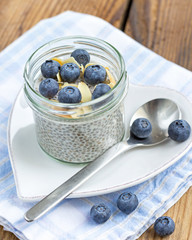 vanilla chia seed pudding with blueberries and almonds