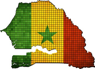 Map with Senegalese flag inside