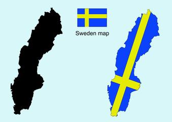 Sweden map vector, Sweden flag vector