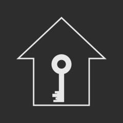 House with key. White on dark grey