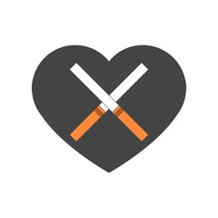 Heart with crossed cigarettes