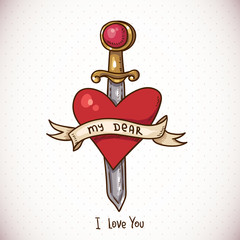 Doodle Greeting Card with sword, ribbon and heart