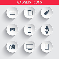 Gadgets trendy 3d round icons vector illustration, eps10
