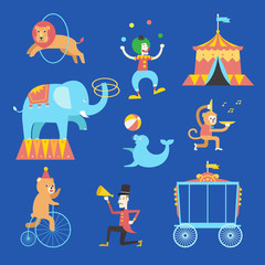 Circus theme icons set ,Vector illustration