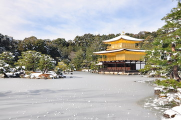 Kinkakuji temple Kyoto japan zen winter concept