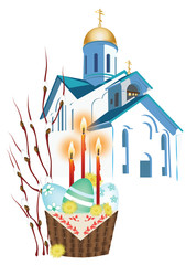 Orthodox church and a basket with Easter eggs