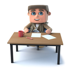 3d Explorer kid sits at a desk