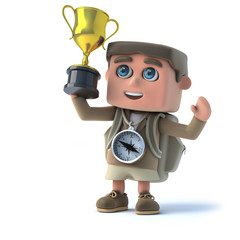 3d Explorer kid wins the gold trophy cup