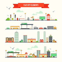 Flat city elements set