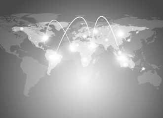 World map and network with lines