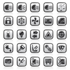 Car interface sign and icons - vector icon set