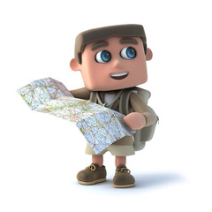 3d Explorer kid checks his map