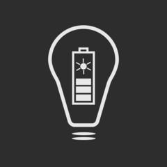 White bulb with solar battery on dark grey background