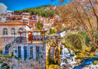 pictorial view of Krya in Livadeia town in central Greece. HDR