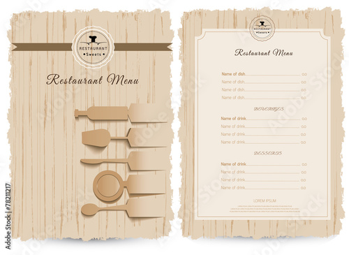 Vintage style restaurant menu design, design on wood background - 78211217