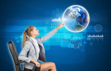 Businesswoman using virtual interface