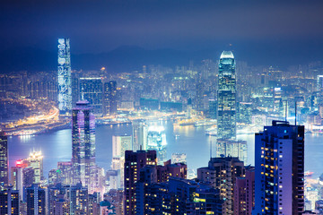 View from Victoria Peak at night, Hong Kong