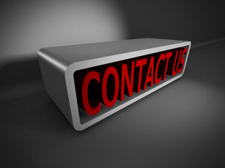 red CONTACT US 3d words on dark background. Business concept