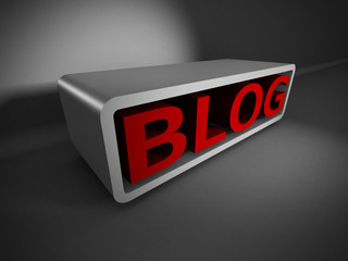 red BLOG 3d word on dark background