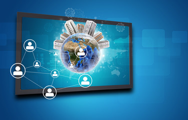 Touchscreen display and Globe with buildings on top, network of