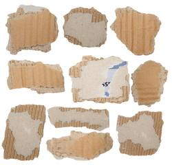 Set Cardboard Scraps isolated on white background