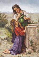 olio su tela di due giovani donne con una brocca